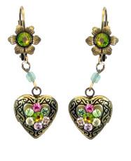 Michal Negrin Heart Locket With Flower Hook Earrings