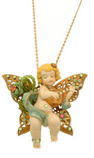 Michal Negrin Jewelry Cherub In A Butterfly Necklace