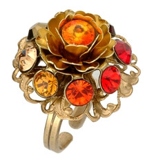 Michal Negrin Jewelry Flower Crystal Adjustable Ring
