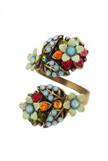 Michal Negrin Jewelry Spiral Flowers Adjustable Ring (4756)