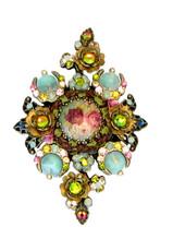 Michal Negrin Crystal Flowers Hair Brooch (4759)