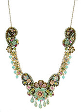 Michal Negrin Antick Look Flower Crystal Lace Necklace