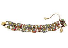 Michal Negrin Jewelry 2 Rows Crystal Flowers Bracelet