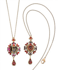 Michal Negrin Crystal Heart Locket Necklace (4815)