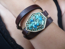 Iris Jewelry Multi Wrap Black Leather Bracelet With Blue Shades Decorated Element