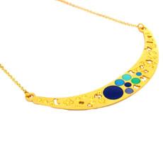 Iris Designs Enamel Blue Circles Necklace