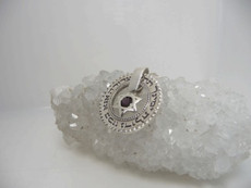 Ana Bekoach Disc Silver Kabbalah Pendant With Rocking Onyx Stone Star Of David