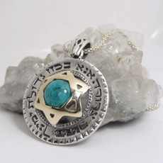Ana Bekoah Pendant From Silver And Gold With Star Of David And Turquoise