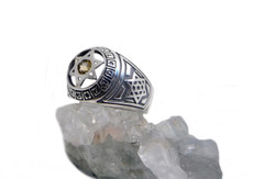 Combinations Star Of David Kabbalah Ring From Silver With Citrine Stone