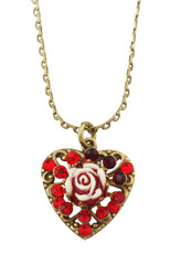 Michal Negrin Classic Heart With A Rose Necklace