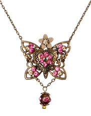 Michal Negrin Classic Butterfly With A Heart Locket Necklace