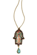 Michal Negrin Classic Hamsa With A Drop Necklace
