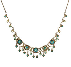 Michal Negrin Classic Flowers With Danglaing Hearts Necklace
