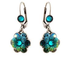 Michal Negrin Silver Crystal Flower Hook Earrings