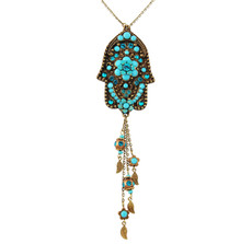 Evil Eye Hamsa Necklace With Dangle Leaves