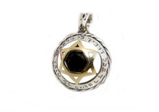God Will Guard You Silver Evil Eye Pendant With Gold Star Of David And Onyx Stone