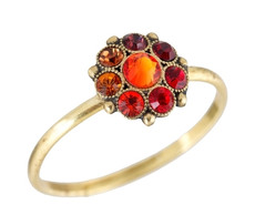 Michal Negrin Orange Crystal Flower Ring