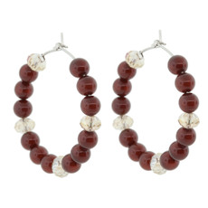 Andrew Hamilton Crawford Beaded Hoops Red Earrings