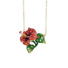 Andrew Hamilton Crawford Jewelry Tropical Flower Red Necklace