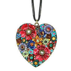 Michal Golan Necklace - Eden Large Heart Pendant With Leather Strip