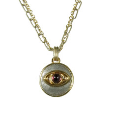Evil Eye Necklace - Gray, Round Pendant With Garnet Centered Eye