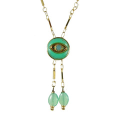 Evil Eye Necklace - Crystal Centered Eye & Two Dangles