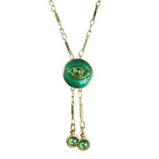 Evil Eye Necklace - Crystal Centered Eye & Teal Dangles