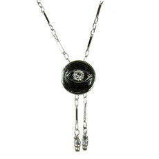 Evil Eye Necklace - Black Pendant W/ Clear Crystal Centered Eye With Two Dangles