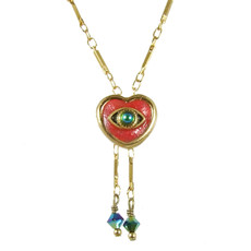 Evil Eye Necklace - Pink, Heart Pendant With Blue Centered Eye