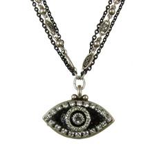 Evil Eye Necklace - Black, Medium Eye With Crystal Edges & Center