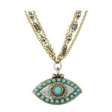 Evil Eye Necklace - Medium Eye With Blue Center & Edges