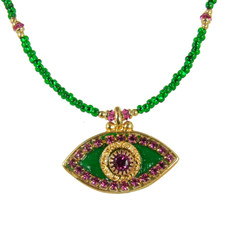 Evil Eye Necklace - Dark Green, Medium Eye With Pink Crystals