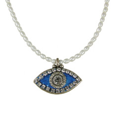 Evil Eye Necklace - Blue, Medium Eye With Crystals