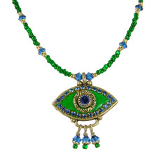 Evil Eye Necklace - Golan Green, Medium Eye With Blue Crystals & Three Dangles
