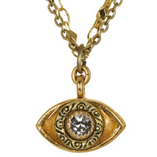 Evil Eye Necklace - Michal Golan Medium, Gold Eye With Clear Crystal Center On Three Stranded Chain