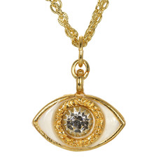 Evil Eye Necklace - Michal Golan Gold, Medium, White Eye With Crystal Center On Three Stranded Chain