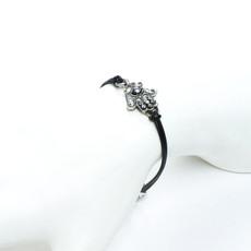 Michal Golan Hamsa Bracelet - Silver And Black Small Intricate Hamsa