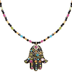 Hamsa Necklace - Large Black Multi Hamsa From Michal Golan