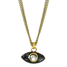 Deco Evil Eye Pendant Double Chain Necklace