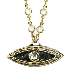 Evil Eye Pendant On Chanel Chain Necklace