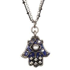 Evil Eye Cobalt Hamsa Necklace