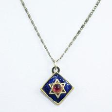 Garnet Star Of David On Navy Diamond