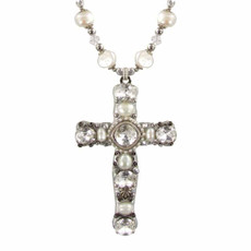 Large Silver Pearl Cross Necklace