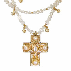 Gold and Pearl Cross Necklace