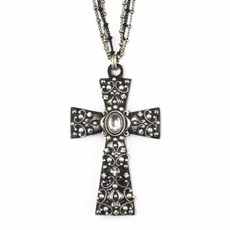 Black and White Large Cross Necklace