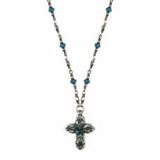 Michal Golan Blue Floral Cross Necklace