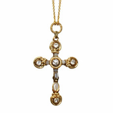 Large Mother Of Perals Cross Necklace