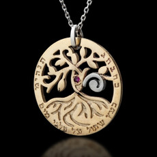 Gold Circle of Life Tree Kabbalah Necklace