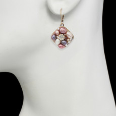 Pink Medium Square earrings from Michal Golan Jewelry - second image