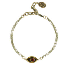 Gold Michal Golan Jewelry Evil Eye with Garnet Center Bracelet